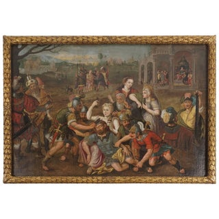 17th Century Antique Follower of Frans Floris Samson & Delilah Oil on Canvas Painting For Sale