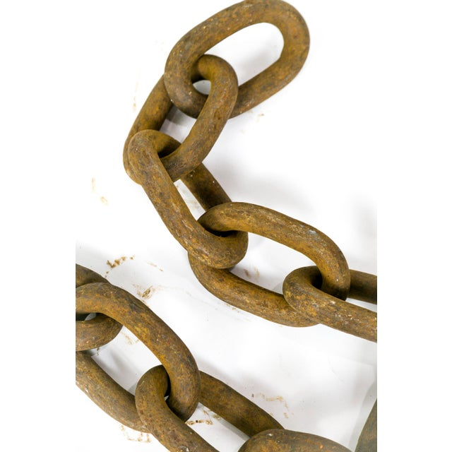 Metal Gigantic Sculptural Antique Iron Chain For Sale - Image 7 of 9