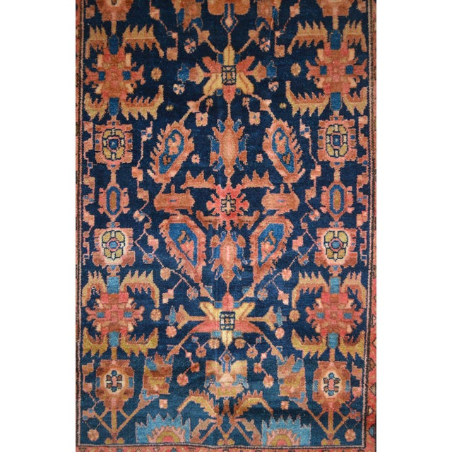 """Navy & Peach Antique Persian Rug - 4'4"""" x 6'8"""" - Image 4 of 6"""