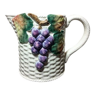 1980s Country Fitz and Floyd Sonoma Vineyard Pitcher