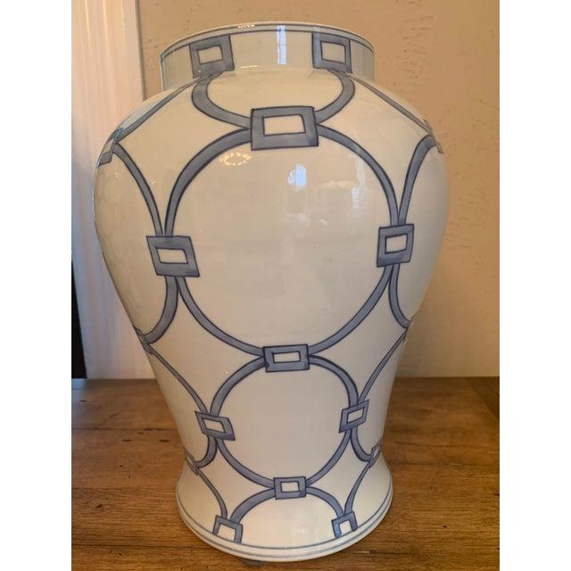Ceramic Blue & White Porcelain Lover Locks Temple Jar For Sale - Image 7 of 13