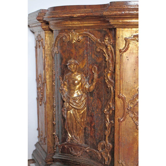 17th Century Venetian Vestiary Gilt Cabinet With Faux Marble Top For Sale - Image 9 of 13