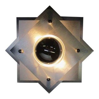 French, 1970s Space Age Brushed Steel Wall Sconce For Sale