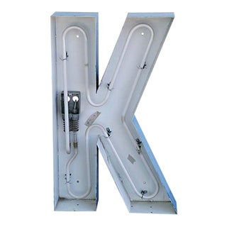 """Large 30"""" Tall Industrial Blue & White Metal Marquee Letter K"""