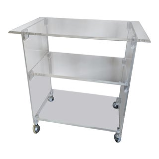 Mid-Century Lucite 3-Tier Rolling Cart For Sale