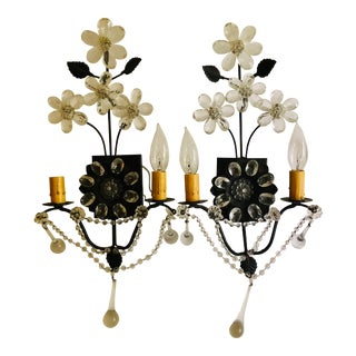 Masion Bagues Style Crystal & Bronze Floral Sconces - a Pair For Sale