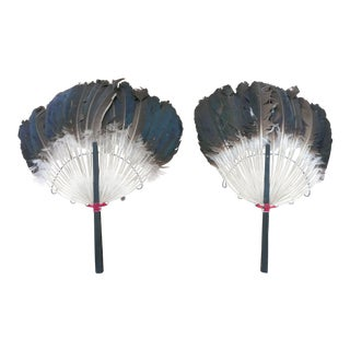 Antique Duck Feather Fans - a Pair For Sale