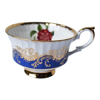 1930s Porcelain Paragon Tea Cup With Gold and Blue and Hidden Rose for Her Majesty For Sale