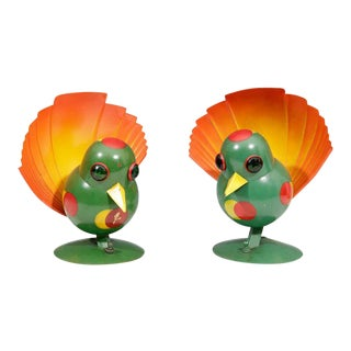 Pair of Futurist Art Deco Peacock Table Lamps by Walter Von Nessen For Sale