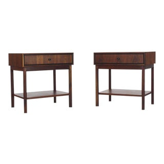 Mid-Century Modern Oiled Walnut One Drawer Nightstands - a Pair For Sale