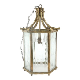 1940s French Hollywood Regency Maison Bagues Bronze Faux Bamboo Ceiling Lantern - Brutalist Glass For Sale
