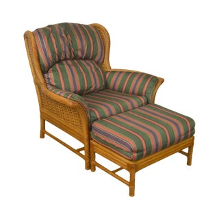 Crate & Barrel Rattan Wing Chair W/ Ottoman
