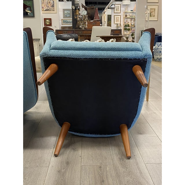 Sky Blue Vintage Mid Century Modern Pair Vatne Mobler Newly Upholstered Lounge Club Chair For Sale - Image 8 of 9