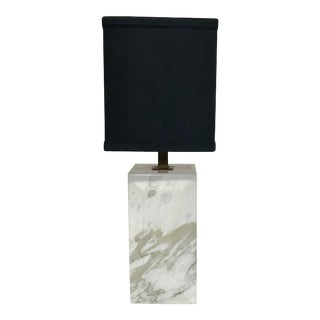 1950s Mid-Century Marble Column Form Table Lamp For Sale