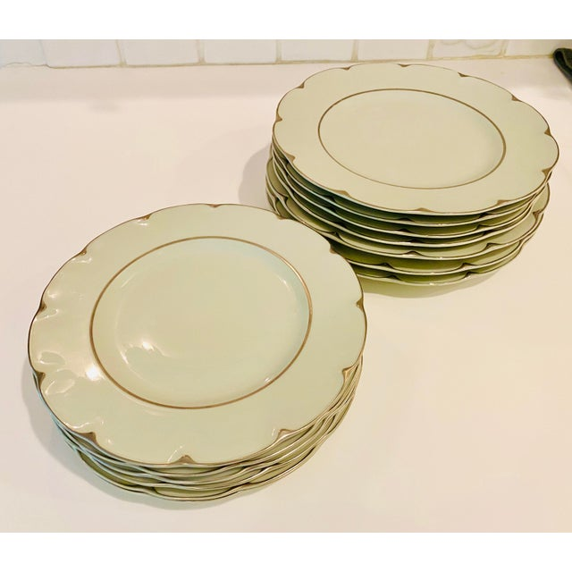 """Theodore Haviland """"Concorde"""" Limoges Celadon and Silver Scalloped Plates - Set of 13 For Sale - Image 11 of 11"""