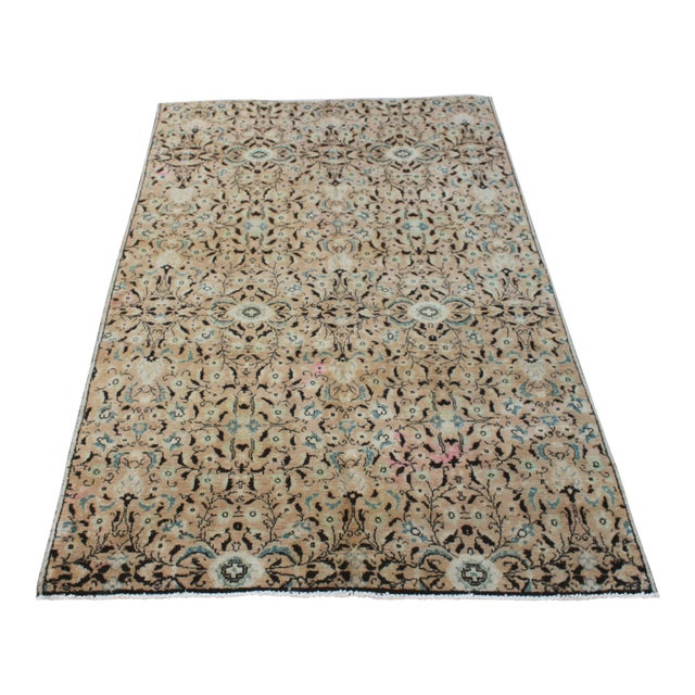 Handmade Anatolian Oushak Wool Rug - 4′4″ × 7′1″ For Sale