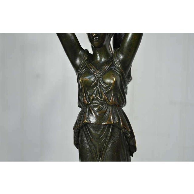 19th Century French Gilt Bronze & Marble Neoclassical Style Figural Maiden Table Lamp For Sale - Image 4 of 11