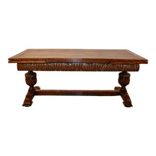 19th C. 10 Foot English Oak Draw Leaf Table For Sale
