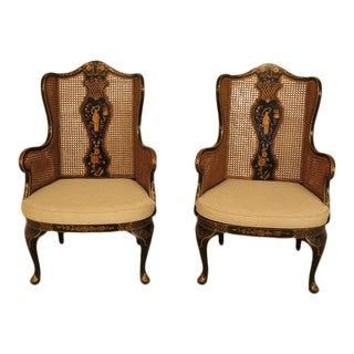 1990s Vintage Chinoiserie Decorated Cane Seat & Back Wing Chairs - A Pair For Sale