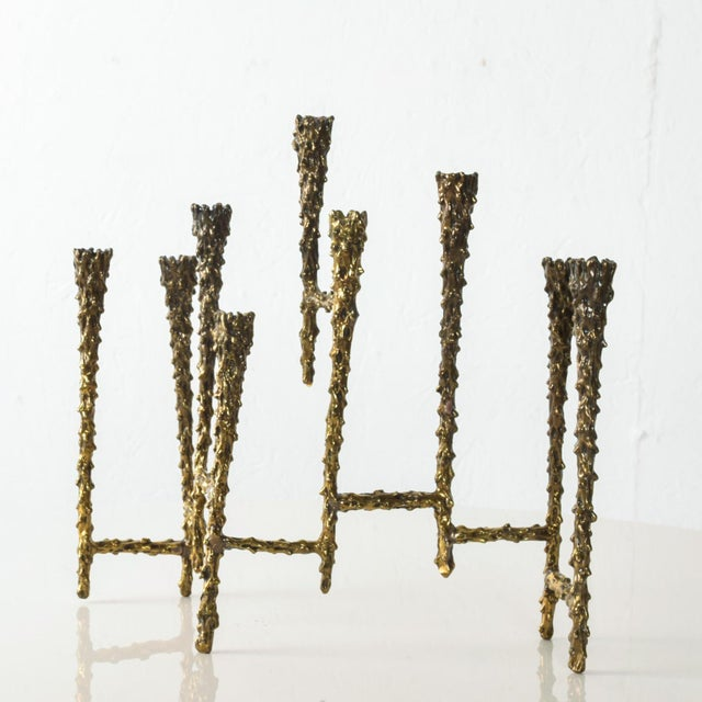 Midcentury Modern Brutalist Tiered Brass Candle Holder For Sale - Image 9 of 11