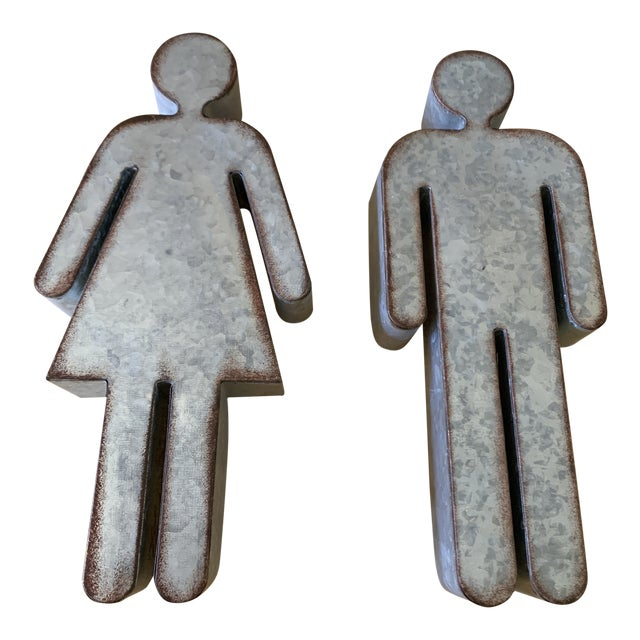 Male & Female Urban Metal Iconic Figure Wall Accents, a Pair For Sale