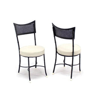 Cast Aluminum Faux Bamboo and Cane Round Seat Chairs - Set of 4 Preview