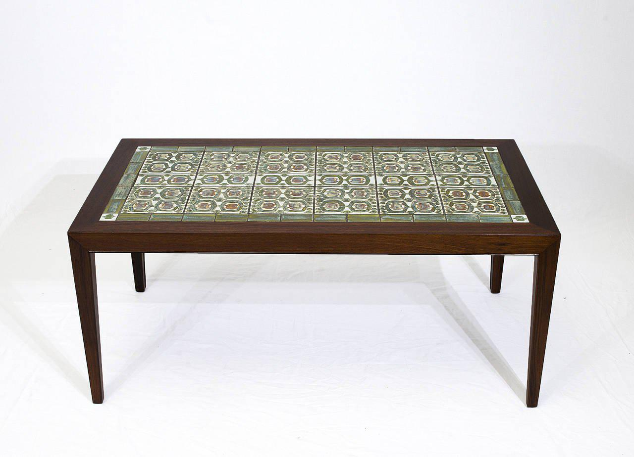 Rosewood Coffee Table With Royal Copenhagen Tiles   Image 2 Of 10