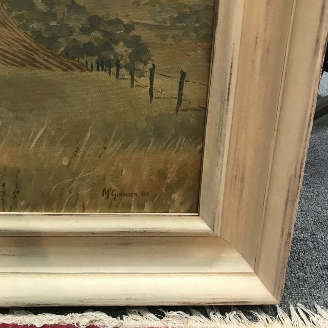 Fall fields acrylic landscape by McGuinnis circa 1985.