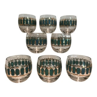 1950s Mid Century Culver Emerald Scroll Roly Poly Drinking Glasses - Set of 8