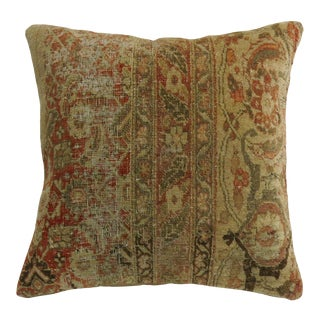 Shabby Chic Antique Tabriz Rug Pillow For Sale