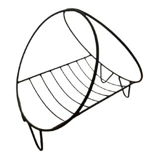 1960s Mid-Century Modern Circular Wrought Iron Log Holder For Sale