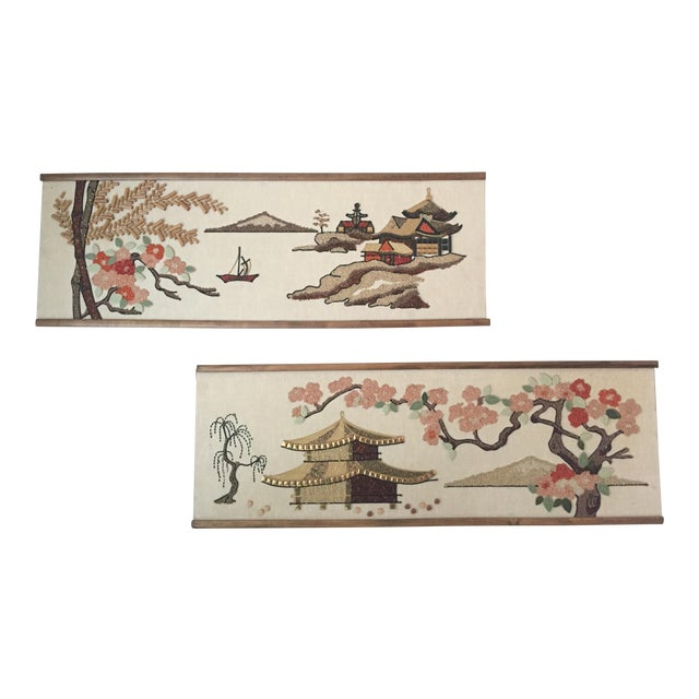 Mid-Century Asian Art Collages - a Pair For Sale