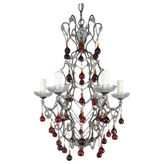 Italian Six-Light Crystal Beaded Chandelier With Vibrant Colored Drops For Sale