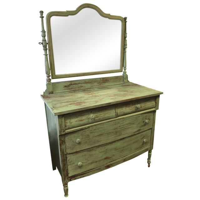4-Drawer Green Distressed Dresser - Image 1 of 4