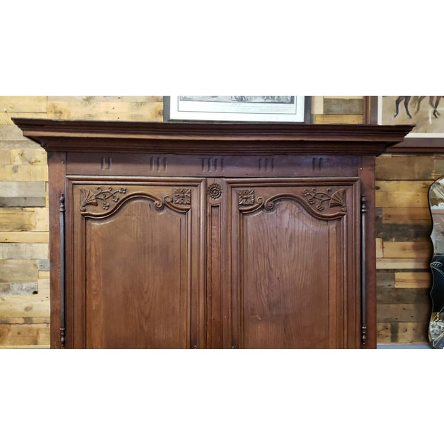 Beautiful antique French Country Louis style Normandy Wedding Armoire, c1790. Solid white oak and fruitwood. Pegged...