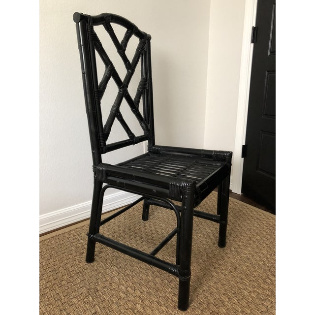 1980s Regency Black Bamboo Side Chair For Sale - Image 11 of 11