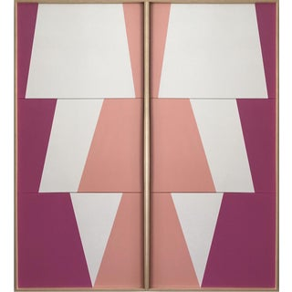 "Jason Trotter Original Acrylic Painting ""Tricolor Pink Double Jagged Triptychs Jet0474"""