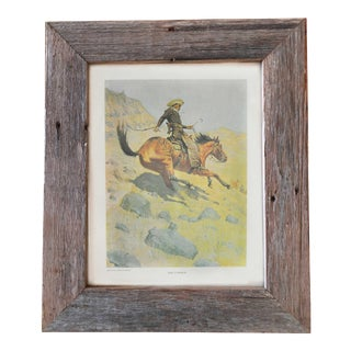 "Reclaimed Barn Wood Frame ""The Cowboy"" Art Print For Sale"