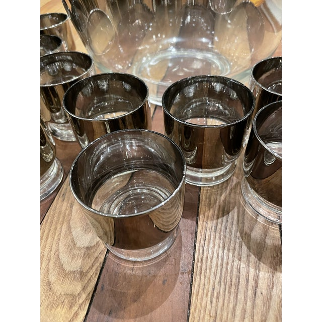 Dorothy Thorpe Mid-Century Modern barware glasses with silver fade overlay design 1960s. Iconic design featuring hues of...