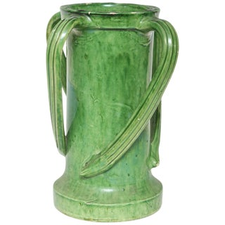 Late 19th Century French Ceramic Green Glazed Four Handled Vase For Sale