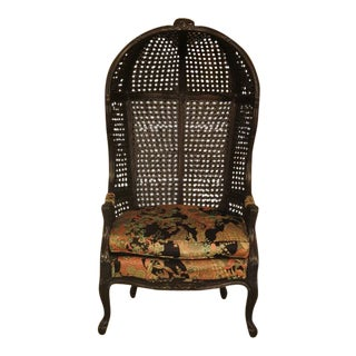 French Louis XIV Cane Hooded Porter's Chair