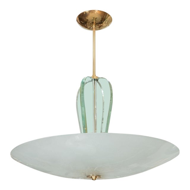 Brass and Glass Pendant Fixture For Sale