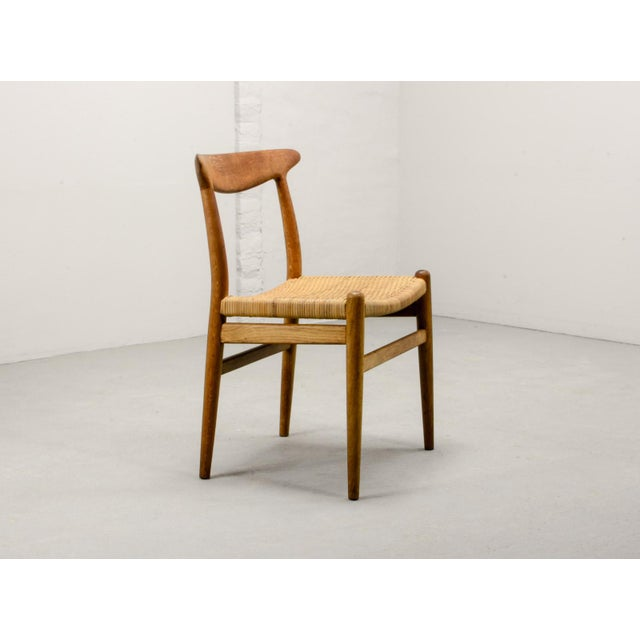 1950s Mid-Century Oakwood and Woven Cane Side Chair W2 by Hans J. Wegner for c.m. Madsen, 1953 For Sale - Image 5 of 11
