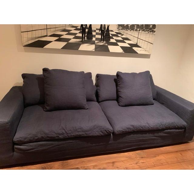 Minimalism Restoration Hardware Navy Cloud 2 Seat Down Sofa For Sale - Image 3 of 13