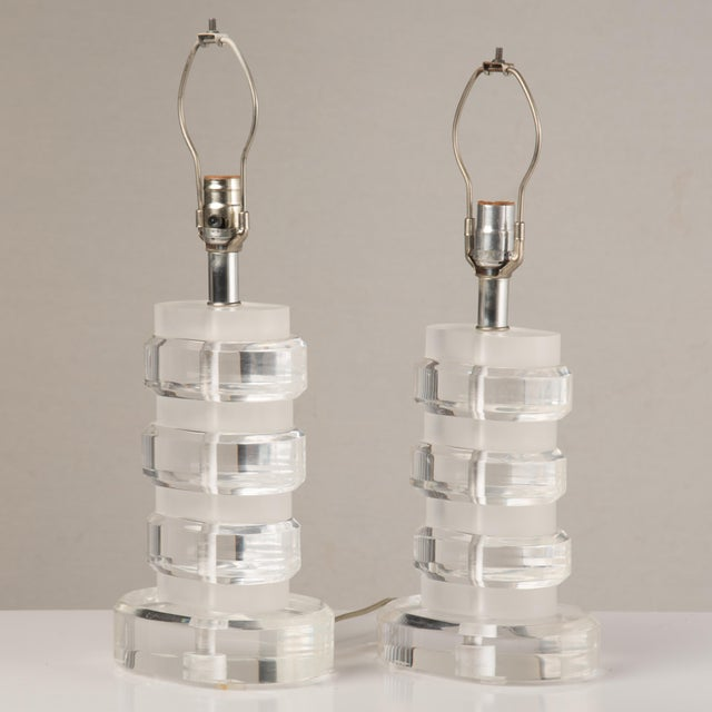 Plastic 1970s Mid-Century Modern Lucite Lamps - a Pair For Sale - Image 7 of 13