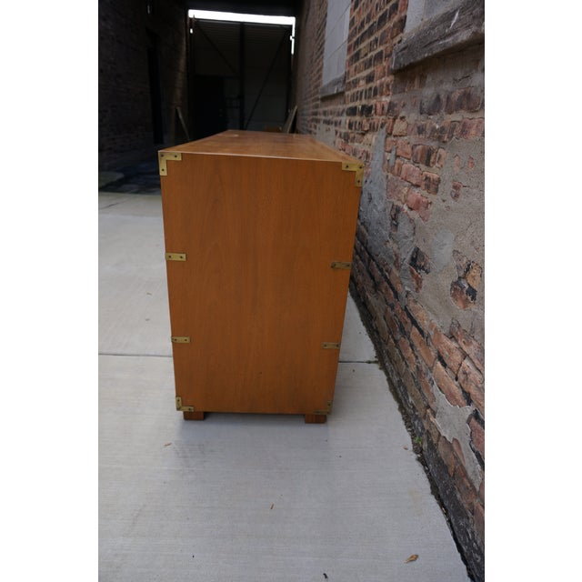 Mid-Century Modern Baker Campaign Style 7-Drawer Bleached Mahogany Dresser For Sale - Image 9 of 13