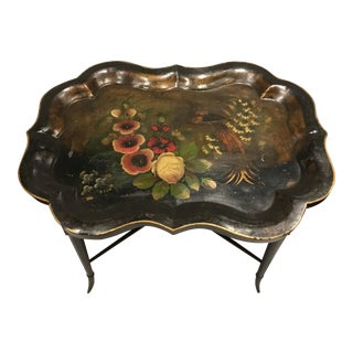 Antique 1930's Italian Hand Painted Tole Tray Table For Sale