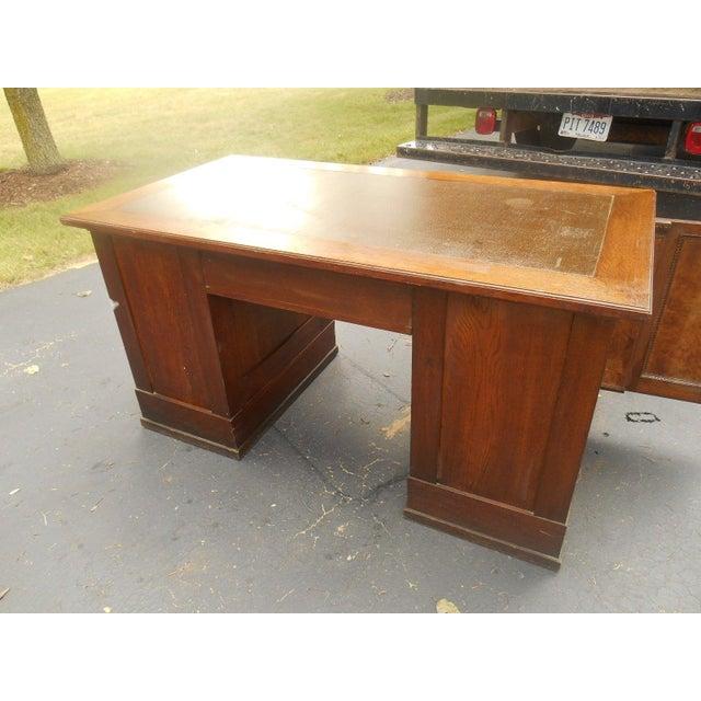 19th-C. Governor Winthrop Tiger Oak Desk - Image 5 of 9
