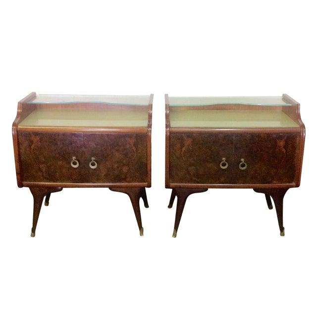 Mid-Century Italian Burl Wood Side Tables - Pair For Sale