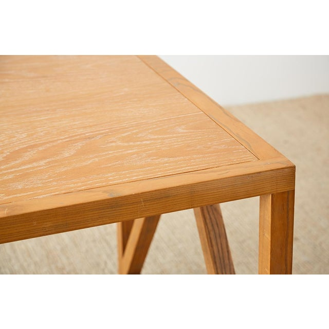 Mid-Century Modern Oak Architectural Writing Table Desk For Sale In San Francisco - Image 6 of 13